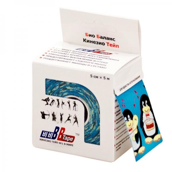 Кинезио тейп BBTape 5см × 5м пингвины голубой