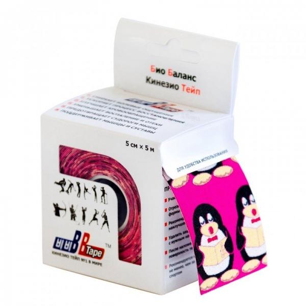 Кинезио тейп BBTape 5см × 5м пингвины розовый