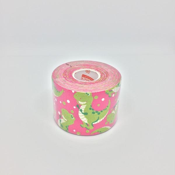 Кинезио тейп BBTape 5см × 5м динозаврики розовый