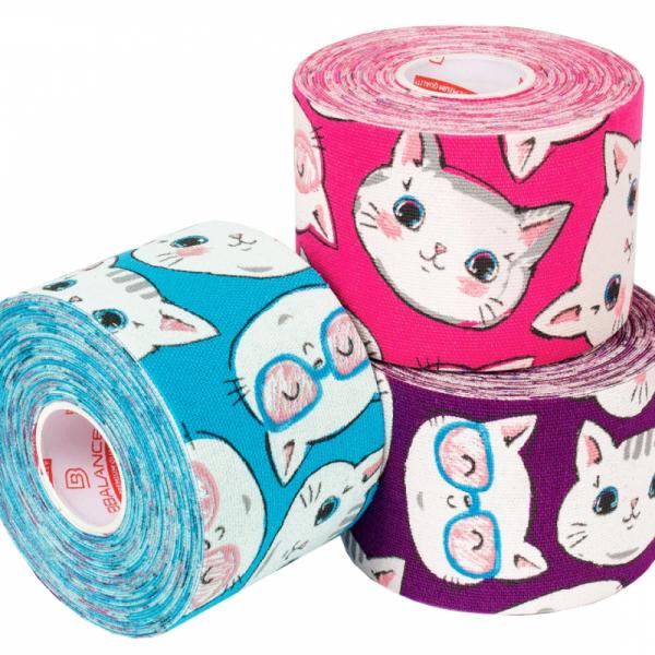 Кинезио тейп BBTape 5см × 5м котята фиолетовый